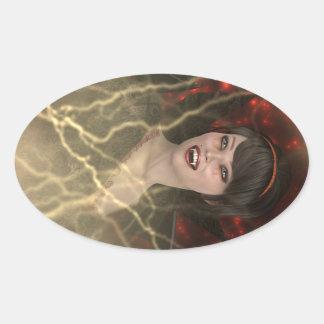 Lady Vamp Oval Sticker