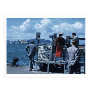 Lady Views Alcatraz Thru Telescope 1950s Retro Postcard