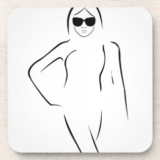 Lady wearing shades and swim suit coasters
