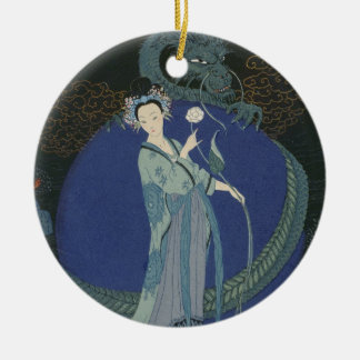 Lady with a Dragon (colour litho) Ceramic Ornament