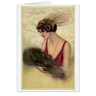 Lady with a Feather Fan, Card