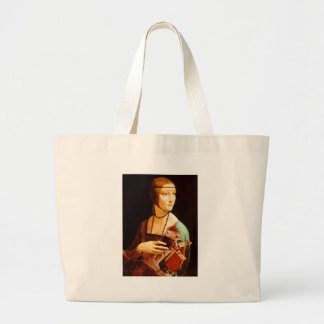 Lady with a Kitten Large Tote Bag