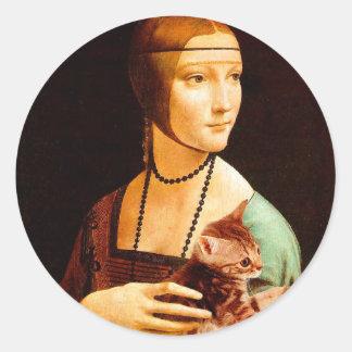 Lady with a Kitten Round Sticker