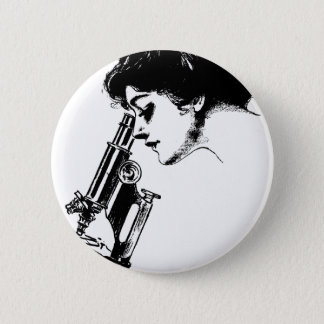 Lady with a microscope 2 inch round button