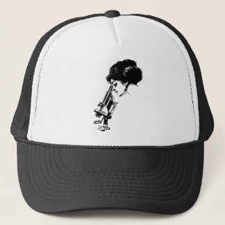 Lady with a microscope trucker hat