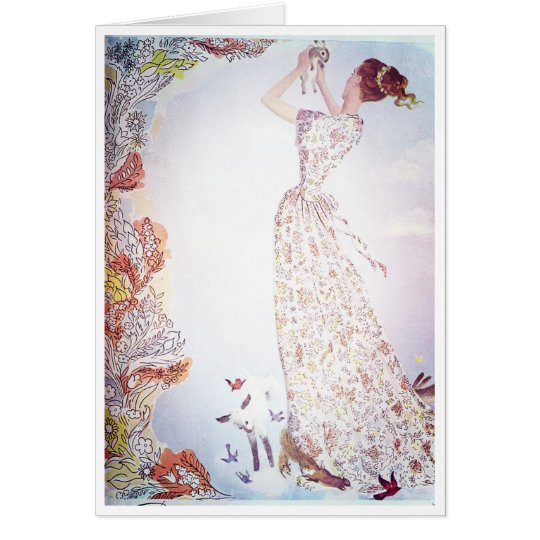 Lady with Animals in the Flowers Card