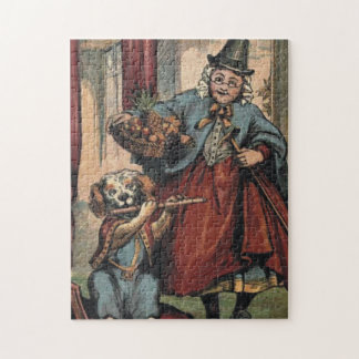 Lady with basket dog with flute Puzzle