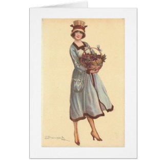 Lady with Basket of Grapes, Card
