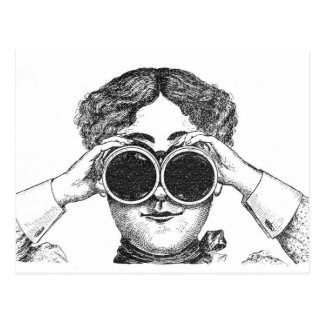 Lady With Binoculars Postcard