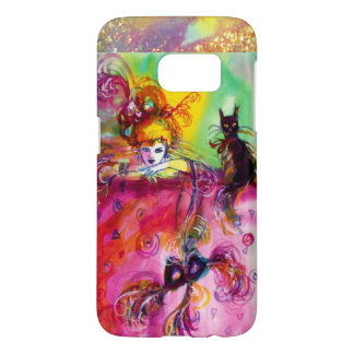 LADY WITH BLACK CAT AND MASK  Masquerade Night Samsung Galaxy S7 Case