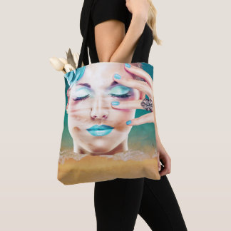 Lady With Blue Makeup Eyes Closed Beach  Dreaming Tote Bag