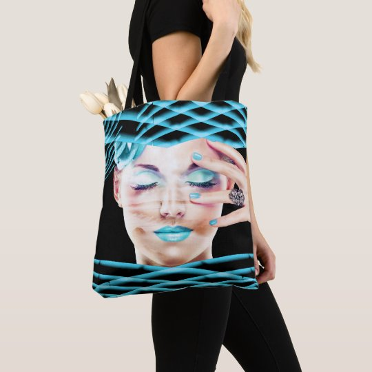 Lady With Blue Makeup Eyes Closed Dreaming Tote Bag