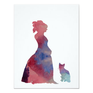 Lady with cat card