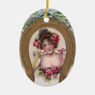 Lady with Champagne Antique New Year Ceramic Oval Ornament
