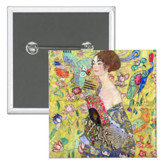 Lady with fan by Gustav Klimt 2 Inch Square Button