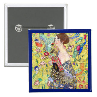 Lady with Fan by Gustav Klimt, Vintage Japonism 2 Inch Square Button