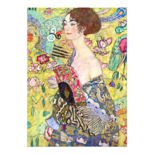 Lady with Fan by Gustav Klimt, Vintage Japonism Personalized Announcements
