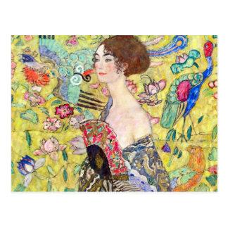 Lady with Fan by Gustav Klimt, Vintage Japonism Postcard