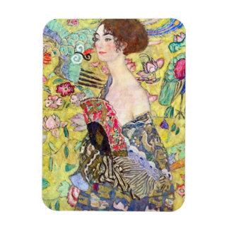 Lady with Fan by Gustav Klimt, Vintage Japonism Rectangular Photo Magnet