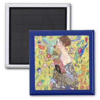 Lady with Fan by Gustav Klimt, Vintage Japonism Square Magnet