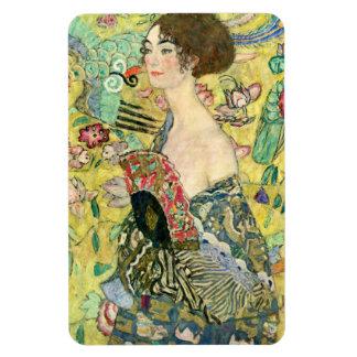 Lady with Fan - Gustav Klimt Rectangular Photo Magnet
