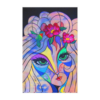 Lady with flowers canvas print
