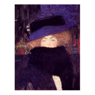 Lady with Hat and Boa by Gustav Klimt Postcard