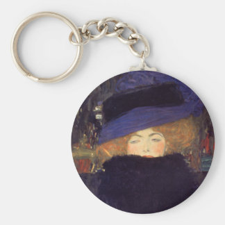 Lady with Hat and Feather Boa - Gustav Klimt Basic Round Button Keychain