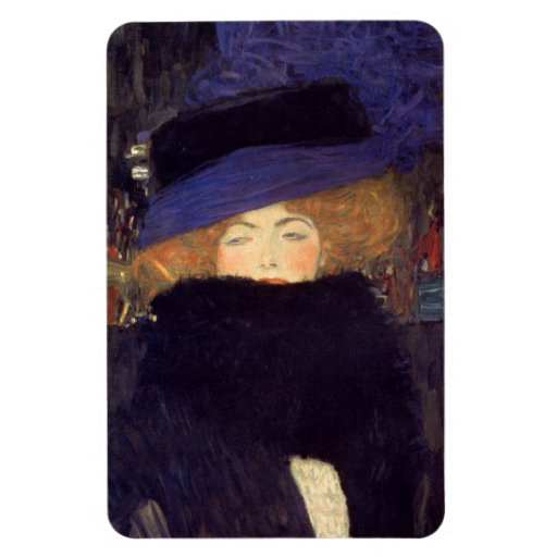 Lady with Hat and Feather Boa - Gustav Klimt Vinyl Magnets
