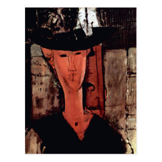 Lady With Hat by Amedeo Modigliani Postcard