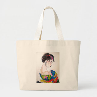 Lady with kimono large tote bag