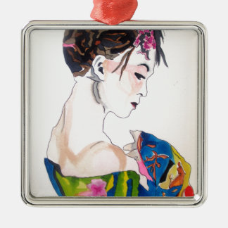 Lady with kimono metal ornament