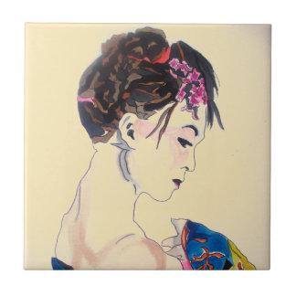 Lady with kimono tile