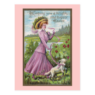 Lady with Lamb on Leash Vintage Easter Postcard