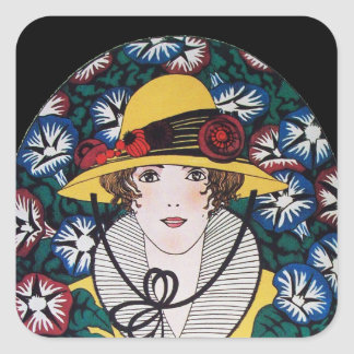 Lady with Morning Glories Square Sticker