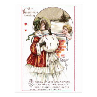 Lady with Muff & Cupid Postcard