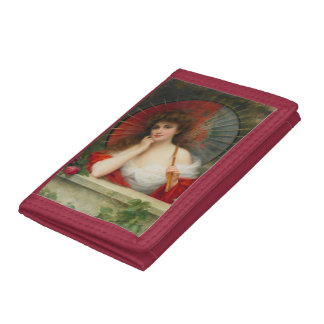 Lady With Parasol Nylon Wallet