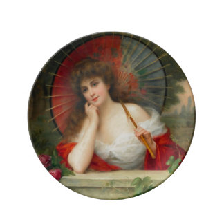 Lady With Parasol Porcelain Plate