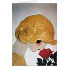 LADY WITH RED ROSE CARD