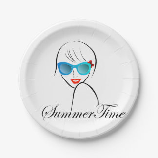 Lady with Style for summer time 7 Inch Paper Plate