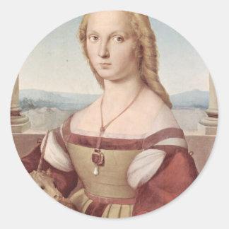 Lady with the Unicorn Raphael Santi Classic Round Sticker