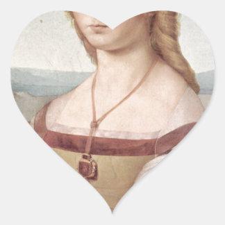 Lady with the Unicorn Raphael Santi Heart Sticker
