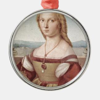 Lady with the Unicorn Raphael Santi Metal Ornament