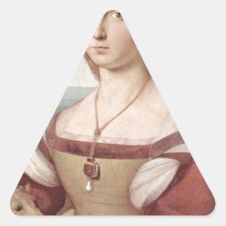 Lady with the Unicorn Raphael Santi Triangle Sticker