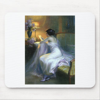lady woman reading letter antique painting art mouse pad