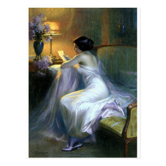 lady woman reading letter antique painting art postcard