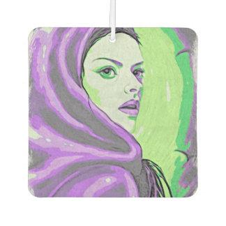 lady woodblock purple car air freshener