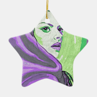 lady woodblock purple ceramic ornament