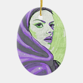 lady woodblock purple ceramic oval ornament