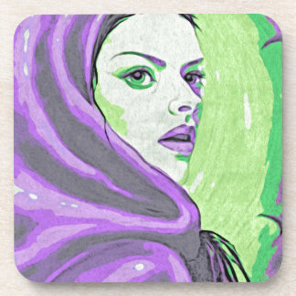 lady woodblock purple coaster
